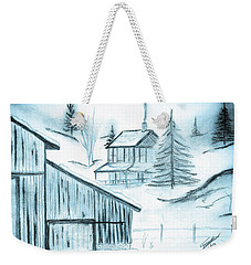 Weekender Tote Bag featuring the drawing Colorado Farm by Shannon Harrington