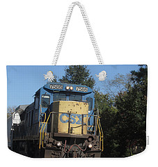 Weekender Tote Bag featuring the photograph Coming Down The Track by Donna Brown