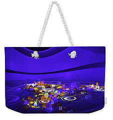 Computer Generated Blue Abstract Fractal Flame Modern Art Weekender Tote Bag