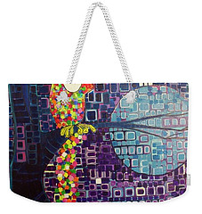 Weekender Tote Bag featuring the painting Confetti Bird by Donna Howard