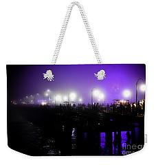 Weekender Tote Bag featuring the photograph Cool Night At Santa Monica Pier by Clayton Bruster