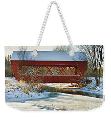 Weekender Tote Bag featuring the photograph Covered Bridge by Eunice Gibb