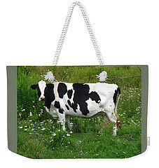 Cow In The Flowers Weekender Tote Bag by Patricia Overmoyer