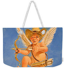 Weekender Tote Bag featuring the painting Cow Kid Cupid by Cliff Spohn