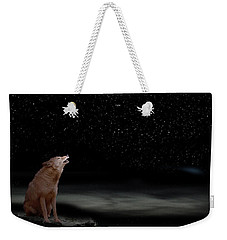 Weekender Tote Bag featuring the photograph Coyote Howling At Moon by Dan Friend