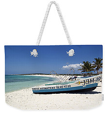 Weekender Tote Bag featuring the photograph Cozumel Mexico Fishing Boats On White Sand Beach by Shawn O'Brien