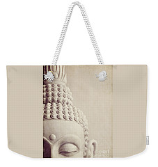 Cropped Stone Buddha Head Statue Weekender Tote Bag by Lyn Randle
