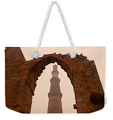 Cross Section Of The Qutub Minar Framed Within An Archway In Foggy Weather Weekender Tote Bag