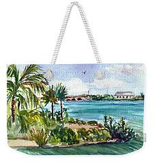 Weekender Tote Bag featuring the painting Cudjoe Key Bridge by Clara Sue Beym