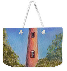 Weekender Tote Bag featuring the pastel Currituck Lighthouse Nc by Julie Brugh Riffey