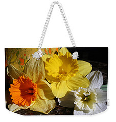 Weekender Tote Bag featuring the photograph Daffodil Threesome by Kay Novy