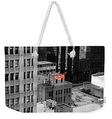 Weekender Tote Bag featuring the photograph Dallas Texas Red Color Splash Black And White by Shawn O'Brien