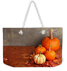 Weekender Tote Bag featuring the photograph Decorative Fall Pumpkins by Verena Matthew