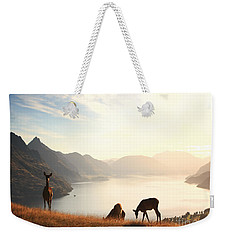 Deer At Sunset Weekender Tote Bag by Pixel  Chimp