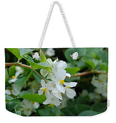 Weekender Tote Bag featuring the photograph Delicate White Flower by Jennifer Ancker