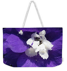 Weekender Tote Bag featuring the photograph Delphinium Named Blue With White Bee by J McCombie