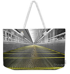 Weekender Tote Bag featuring the photograph Dfw Airport Walkway Perspective Color Splash Black And White by Shawn O'Brien