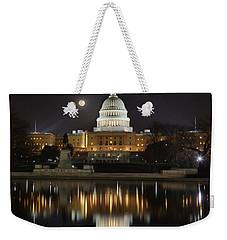 Digital Liquid - Full Moon At The Us Capitol Weekender Tote Bag
