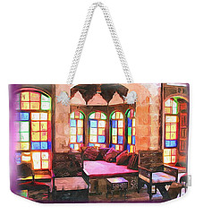 Weekender Tote Bag featuring the photograph Do-00520 Emir Bachir Palace Interior-violet Bkgd by Digital Oil