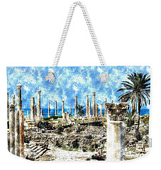 Weekender Tote Bag featuring the photograph Do-00549 Ruins And Columns - Town Of Tyr by Digital Oil