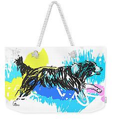 Dog Running In Water Weekender Tote Bag