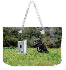 Dog Watching Tv Weekender Tote Bag