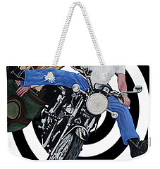 Weekender Tote Bag featuring the painting Don't Blink by Tom Roderick