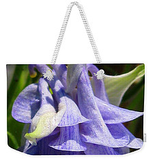 Weekender Tote Bag featuring the photograph Double Columbine Named Light Blue by J McCombie