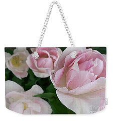 Weekender Tote Bag featuring the photograph Double Pink by Laurel Best