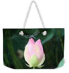 Weekender Tote Bag featuring the photograph Dragonfly On Water Lily by Donna  Smith