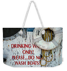 Weekender Tote Bag featuring the photograph Drinking Water Only by Patricia Greer