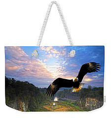 Weekender Tote Bag featuring the photograph Eagle At Paint Creek Dam by Randall Branham