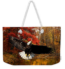 Weekender Tote Bag featuring the photograph Eagle In Autumn Splendor by Randall Branham