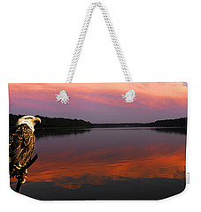 Weekender Tote Bag featuring the photograph Eagle Overlooking Domain by Randall Branham