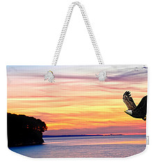 Weekender Tote Bag featuring the photograph Eagle Sunrise by Randall Branham