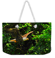 Weekender Tote Bag featuring the photograph Eagle Taking Lunch To Her Babies by Randall Branham
