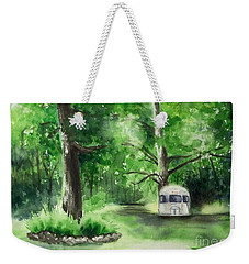 Weekender Tote Bag featuring the painting Early Summer At The Geddes Farm --ann Arbor Michigan by Yoshiko Mishina