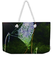 Weekender Tote Bag featuring the photograph Electric Web In The Fog by EricaMaxine  Price