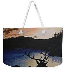 Weekender Tote Bag featuring the painting Elk At Sunset by Norm Starks
