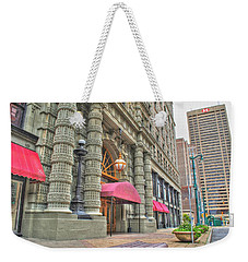 Weekender Tote Bag featuring the photograph Ellicott Square Building And Hsbc by Michael Frank Jr