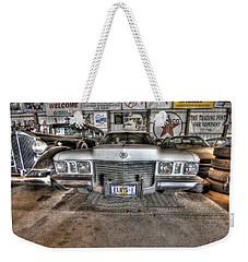 Elvis' Cadillac Weekender Tote Bag by Nicholas  Grunas