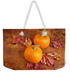 Weekender Tote Bag featuring the photograph Fall Decorative Pumpkins by Verena Matthew