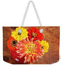 Weekender Tote Bag featuring the photograph Fall Flower Arrangement by Verena Matthew