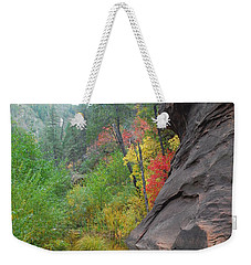 Fall Peeks From Behind The Rocks Weekender Tote Bag by Heather Kirk