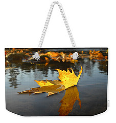 Fallen Maple Leaf Reflection Weekender Tote Bag