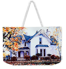 Weekender Tote Bag featuring the painting Family Home Portrait by Hanne Lore Koehler