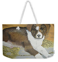 Weekender Tote Bag featuring the painting Fat Puppy by Norm Starks