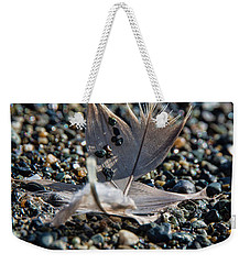 Weekender Tote Bag featuring the photograph White Feather by Marilyn Wilson