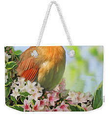 Weekender Tote Bag featuring the photograph Female Cardnial In Wegia Digital Art by Debbie Portwood