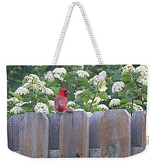 Weekender Tote Bag featuring the photograph Fence Top by Elizabeth Winter